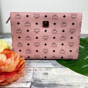 MCM medium soft pink pouch clutch bag purse